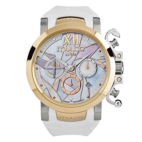 マルコ 腕時計 レディース MW3-14009-013 Mulco La Fleur Ave del Paraiso Swiss Chronograph Quartz Movement Women's Watch | Mother of Pearl Swarovski Sundial Rose Gold Accents | Silicone Watch Band | Water Resistantマルコ 腕時計 レディース MW3-14009-013
