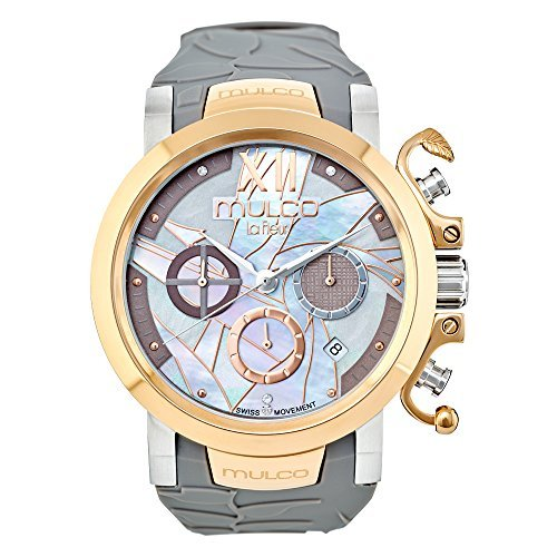 マルコ 腕時計 レディース MW3-14009-223 Mulco La Fleur Ave del Paraiso Swiss Chronograph Quartz Movement Women's Watch | Mother of Pearl Swarovski Sundial Rose Gold Accents | Silicone Watch Band | Water Resistantマルコ 腕時計 レディース MW3-14009-223