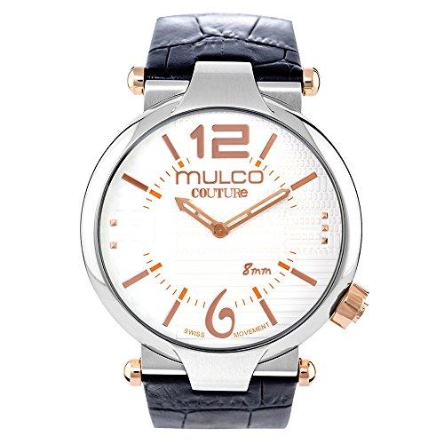 マルコ 腕時計 メンズ MW5-3183-021 【送料無料】Mulco Couture Slim Quartz Slim Analog Swiss Movement Unisex Watch | Special Texture Design Sundial Display Accents | Leather Watch Band | Water Resistant Stainless マルコ 腕時計 メンズ MW5-3183-021