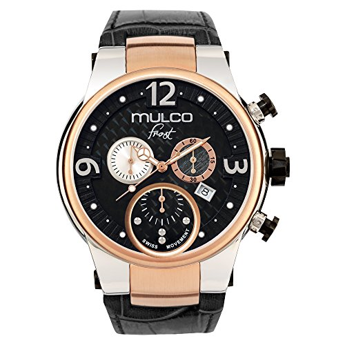 腕時計 マルコ メンズ 【送料無料】Mulco Frost Gent Quartz Swiss Chronograph Movement Men's Watch | Analog Display with Rose Gold Accents | Black Watch Band | Water Resistant Stainless Steel Watch | Ceramic Bezel MW5-2602-023腕時計 マルコ メンズ