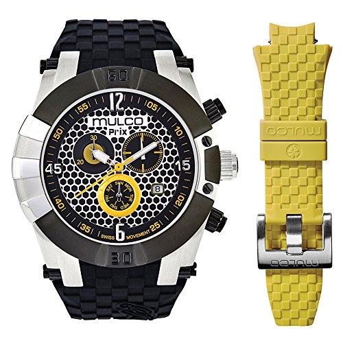 マルコ 腕時計 メンズ 【送料無料】Mulco Prix Snap Quartz Swiss Chronograph Movement Men's Watch | Premium Analog Display with Steel Accents | Silicone Watch Band | Water Resistant Stainless Steel Watch (Black)マルコ 腕時計 メンズ