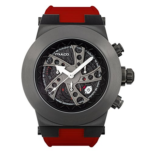 マルコ 腕時計 メンズ MW3-14026-065 Mulco Evol Daccar Quartz Swiss Chronograph Men's Watch | Premium Analog Display with Gun Metal and Steel Accents | Silicone Watch Band | Water Resistant Stainless Steel Watch (Reマルコ 腕時計 メンズ MW3-14026-065