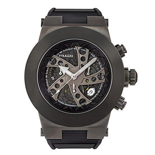 マルコ 腕時計 メンズ MW3-14026-029 Mulco Evol Daccar Quartz Swiss Chronograph Men's Watch | Premium Analog Display with Gun Metal and Steel Accents | Silicone Watch Band | Water Resistant Stainless Steel Watch (Blマルコ 腕時計 メンズ MW3-14026-029
