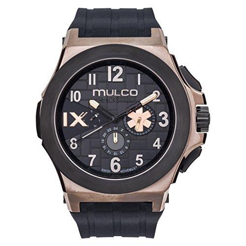 マルコ 腕時計 メンズ 【送料無料】Mulco Blacksteel Swiss Multifunction Movement Men's Watch | Premium Analog Display with Black Accents | Black Silicone Watch Band | Water Resistant Stainless Steel (Black/Rosegold)マルコ 腕時計 メンズ