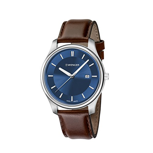 ウェンガー スイス メンズ 腕時計 01.1441.116 【送料無料】Wenger Men's City Classic Stainless Steel Swiss-Quartz Watch with Leather Calfskin Strap, Brown, 21 (Model: 01.1441.116)ウェンガー スイス メンズ 腕時計 01.1441.116