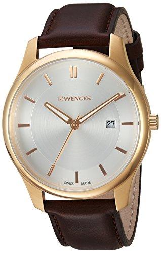 ウェンガー スイス メンズ 腕時計 01.1441.107 【送料無料】Wenger Men's City Classic Swiss-Quartz Watch with Leather-Calfskin Strap, Brown, 21 (Model: 01.1441.107)ウェンガー スイス メンズ 腕時計 01.1441.107