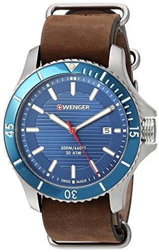 ウェンガー スイス アーミーナイフ メンズ 腕時計 01.0641.121 Wenger Men's Seaforce Stainless-Steel Swiss-Quartz Watch with Leather Calfskin Strap, Brown, 22 (Model: 01.0641.121ウェンガー スイス アーミーナイフ メンズ 腕時計 01.0641.121