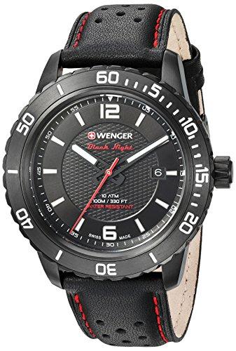 ウェンガー スイス メンズ 腕時計 01.0851.123 【送料無料】Wenger Men's Roadster Stainless Steel Swiss-Quartz Watch with Leather Calfskin Strap, Black, 21 (Model: 01.0851.123)ウェンガー スイス メンズ 腕時計 01.0851.123