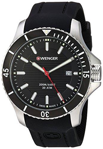 ウェンガー スイス メンズ 腕時計 01.0641.117 Wenger Men's Seaforce Stainless-Steel Swiss-Quartz Watch with Silicone Strap, Black, 21 (Model: 01.0641.117)ウェンガー スイス メンズ 腕時計 01.0641.117