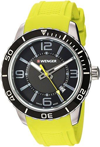 ウェンガー スイス メンズ 腕時計 01.0851.115 Wenger Men's Roadster Stainless Steel Swiss-Quartz Watch with Silicone Strap, Yellow, 22 (Model: 01.0851.115)ウェンガー スイス メンズ 腕時計 01.0851.115