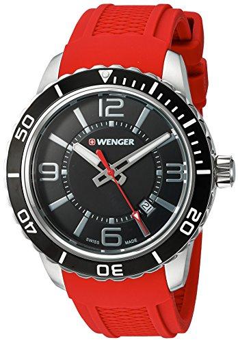 ウェンガー スイス アーミーナイフ メンズ 腕時計 01.0851.116 Wenger Men's Roadster Stainless Steel Swiss-Quartz Watch with Silicone Strap, red, 22 (Model: 01.0851.116)ウェンガー スイス アーミーナイフ メンズ 腕時計 01.0851.116