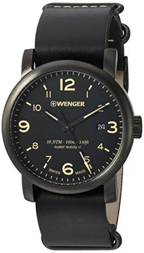 ウェンガー スイス メンズ 腕時計 01.1041.135 【送料無料】Wenger Men's Urban Metropolitan Stainless Steel Swiss-Quartz Watch with Leather Calfskin Strap, Black, 22 (Model: 01.1041.135)ウェンガー スイス メンズ 腕時計 01.1041.135