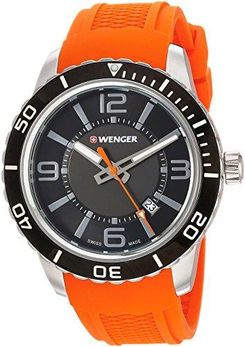 ウェンガー スイス メンズ 腕時計 01.0851.114 Wenger Men's Roadster Stainless Steel Swiss-Quartz Watch with Silicone Strap, Orange, 22 (Model: 01.0851.114)ウェンガー スイス メンズ 腕時計 01.0851.114