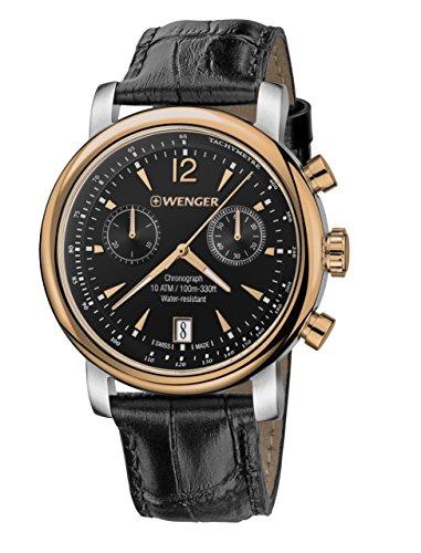 ウェンガー スイス メンズ 腕時計 01.1043.113 【送料無料】Wenger Men's Urban Classic Chrono Swiss-Quartz Watch with Leather Calfskin Strap, Black, 22 (Model: 01.1043.113)ウェンガー スイス メンズ 腕時計 01.1043.113