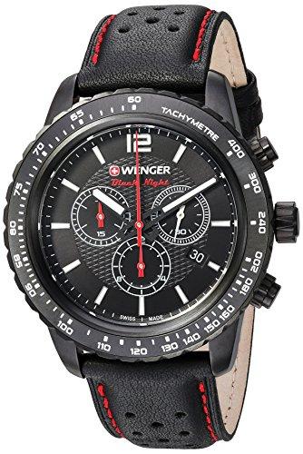 ウェンガー スイス アーミーナイフ メンズ 腕時計 01.0853.108 Black Leather Strap, PVDウェンガー スイス アーミーナイフ メンズ 腕時計 01.0853.108