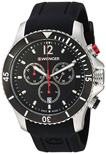 """ウェンガー スイス メンズ 腕時計 01.0643.108 【送料無料】Wenger Men""""s Seaforce Chrono Stainless-Steel Swiss-Quartz Watch with Silicone Strap, Black, 21 (Model: 01.0643.108)ウェンガー スイス メンズ 腕時計 01.0643.108"""