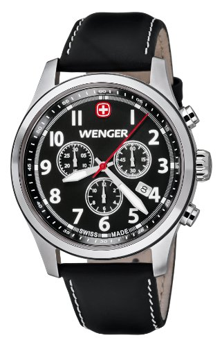 ウェンガー スイス メンズ 腕時計 010543101 【送料無料】Wenger Terragraph Chrono Men's Quartz Watch with Black Dial Analogue Display and Black Leather Strap 010543101ウェンガー スイス メンズ 腕時計 010543101
