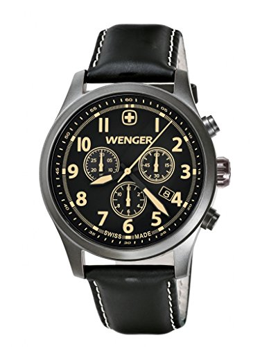 ウェンガー スイス メンズ 腕時計 010543104 Wenger Terragraph Chrono Men's Quartz Watch with Black Dial Analogue Display and Black Leather Strap 010543104ウェンガー スイス メンズ 腕時計 010543104