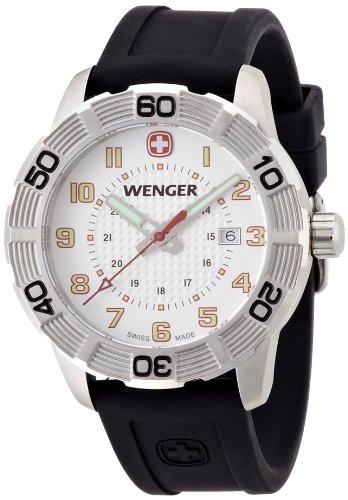 ウェンガー スイス アーミーナイフ メンズ 腕時計 010851104 Wenger Roadster Men's Quartz Watch with White Dial Analogue Display and Black Silicone Strap 010851104ウェンガー スイス アーミーナイフ メンズ 腕時計 010851104