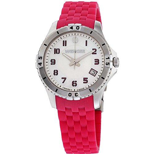 ウェンガー スイス アーミーナイフ メンズ 腕時計 010121101 Wenger Squadron Lady Silver Dial Silicone Strap Ladies Watch 01.0121.101ウェンガー スイス アーミーナイフ メンズ 腕時計 010121101