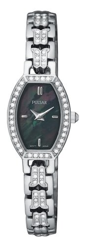 パルサー SEIKO セイコー 腕時計 レディース PEGC95 Pulsar Women's PEGC95 Crystal Accented Dress Silver-Tone Black Mother of Pearl Dial Watchパルサー SEIKO セイコー 腕時計 レディース PEGC95