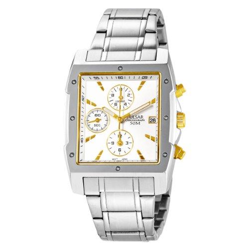パルサー SEIKO セイコー 腕時計 メンズ PF8341 Pulsar Men's PF8341 Chronograph Square Silver Dial Stainless Steel Watchパルサー SEIKO セイコー 腕時計 メンズ PF8341
