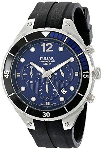 パルサー SEIKO セイコー 腕時計 メンズ PT3639 Pulsar Men's PT3639 Stainless Steel Watch with Ridged Silicone Bandパルサー SEIKO セイコー 腕時計 メンズ PT3639