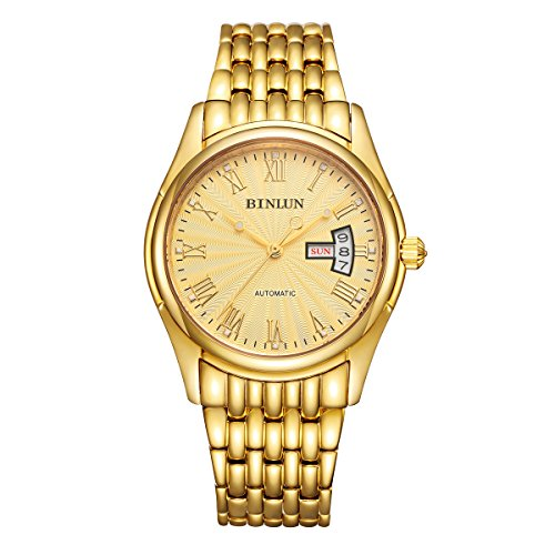 ビンルン 腕時計 メンズ BL0029G-SGG BINLUN Mens Gold Wrist Watch Waterproof Automatic Mechanical Watches for Men with Dateビンルン 腕時計 メンズ BL0029G-SGG