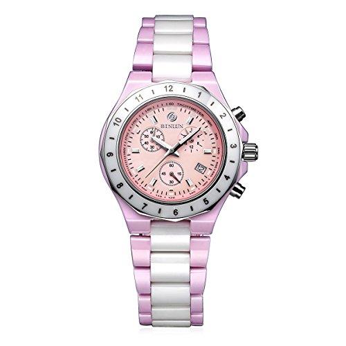 ビンルン 腕時計 レディース BL0023G-CPP BINLUN Japanese Quartz White Pink Ceramic Luminous GMT Women's Sports Chronograph Watch Date Femaleビンルン 腕時計 レディース BL0023G-CPP