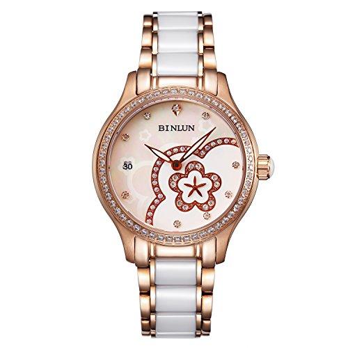 ビンルン 腕時計 レディース BINLUN Women's Waterproof Wrist Watch Flower Pattern Ceramic Bands Dress Watches for Women Golden Caseビンルン 腕時計 レディース
