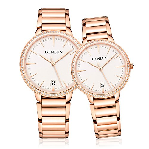 ビンルン 腕時計 メンズ BL0070C-SRW-S 【送料無料】BINLUN Pair His and Hers Couple Watches Men Women 2pcs/Set Ultra Thin Automatic Watches 18k Rose Goldビンルン 腕時計 メンズ BL0070C-SRW-S