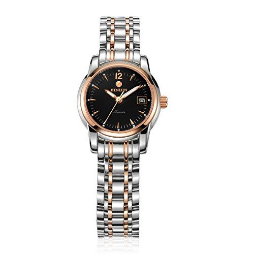 ビンルン 腕時計 レディース BL0049L-SRB 【送料無料】BINLUN Womens Watches Stainless Steel Rose Gold Black Two Tone Quartz Watch Luminous with Calendar Dateビンルン 腕時計 レディース BL0049L-SRB