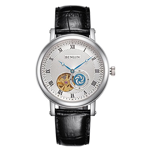 ビンルン 腕時計 メンズ BL0068BC 【送料無料】BINLUN Skeleton Automatic Watch Waterproof Mens Wrist Watches Stainless Steel Black Leather Strapビンルン 腕時計 メンズ BL0068BC