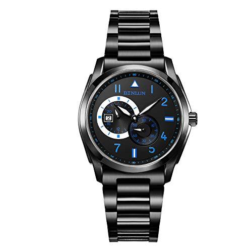 ビンルン 腕時計 メンズ BL0020G-SBL-C BINLUN Black Mens Automatic Watches Waterproof Military Stainless Steel Wrist Watch with Dateビンルン 腕時計 メンズ BL0020G-SBL-C