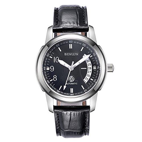 ビンルン 腕時計 メンズ BL0019BS 【送料無料】Binlun Men's Polished Stainless Steel Watch for Water Resistant, Black Leather Strapビンルン 腕時計 メンズ BL0019BS