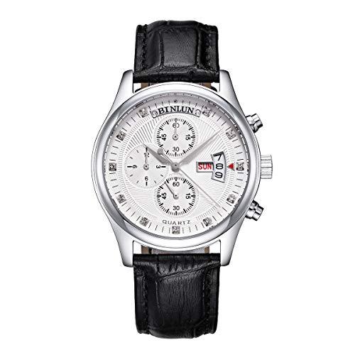 ビンルン 腕時計 メンズ BL0015LBW BINLUN Chronograph Watches for Men Outdoor Military Sports Multi-Functional Wrist Watch Waterproof Black Leather Quartz Watches with Day Dateビンルン 腕時計 メンズ BL0015LBW