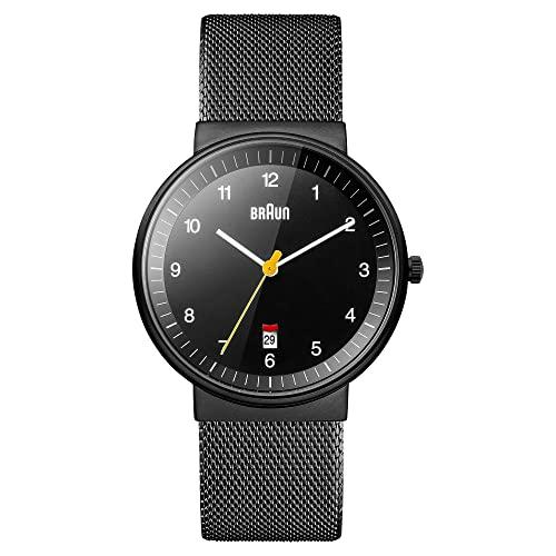 ブラウン 腕時計 メンズ BN0032BKBKMHG Braun Men's BN0032WHBKG Classic Analog Watch w. White Display and Black Bandブラウン 腕時計 メンズ BN0032BKBKMHG