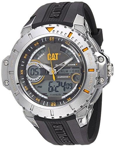 キャタピラー タフネス 腕時計 メンズ 頑丈 MA14521131 CAT WATCHES Men's 'Anadigit' Quartz Stainless Steel and Rubber Casual, Color:Black (Model: MA14521131)キャタピラー タフネス 腕時計 メンズ 頑丈 MA14521131