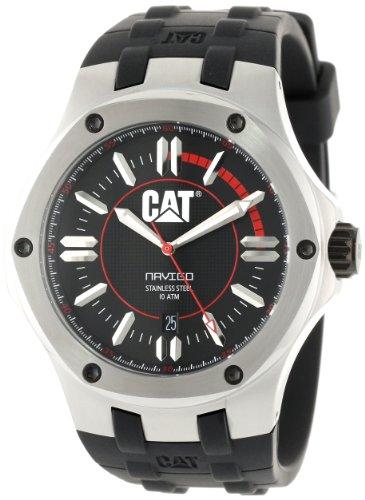 キャタピラー タフネス 腕時計 メンズ 頑丈 A114121128 CAT WATCHES Men's A114121128 Navigo Date Black and Red Analog Dial Red Rubber Strap Watchキャタピラー タフネス 腕時計 メンズ 頑丈 A114121128
