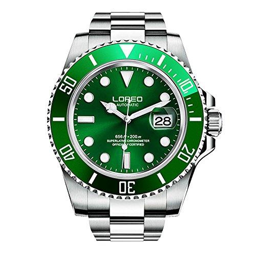 ロレオ 腕時計 メンズ LO9021X 【送料無料】LOREO Mens Silver Stainless Steel Sapphire Glass Black Rotating Bezel Men's Automatic Watch (Green/Silver Stainless Steel Band)ロレオ 腕時計 メンズ LO9021X