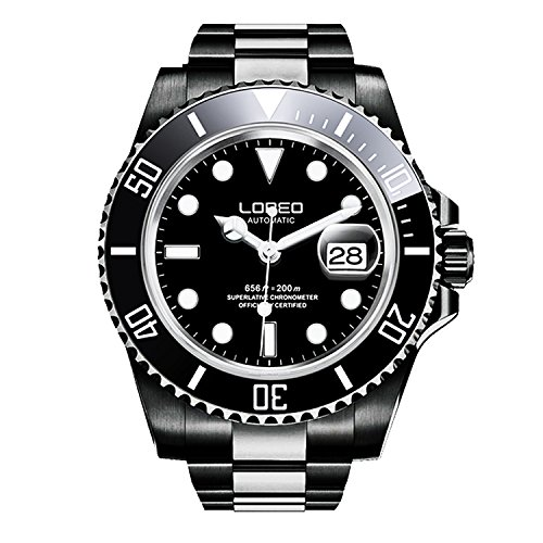 ロレオ 腕時計 メンズ LO0921N 【送料無料】LOREO Mens GMT Full Black Stainless Steel Sapphire Glass Rotating Bezel Mens Automatic Watchロレオ 腕時計 メンズ LO0921N