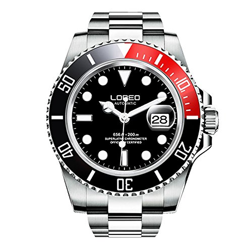 ロレオ 腕時計 メンズ L9201A 【送料無料】LOREO Mens Silver Stainless Steel Sapphire Glass Black Rotating Bezel Men's Automatic Watch (Red)ロレオ 腕時計 メンズ L9201A