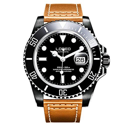 ロレオ 腕時計 メンズ L9201g LOREO Mens GMT Rotating bezel Black Stainless Steel Sapphire Glass Automatic Leather band Watchロレオ 腕時計 メンズ L9201g