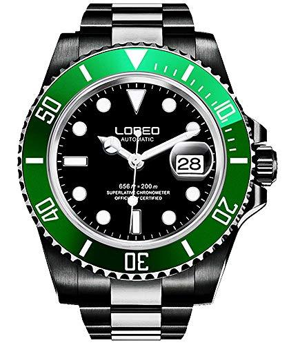 ロレオ 腕時計 メンズ LO0921q 【送料無料】LOREO Mens Full Black Stainless Steel Sapphire Glass Rotating Bezel Military Waterpoof Mens Automatic Watch (Green with Stainless Steel Band B)ロレオ 腕時計 メンズ LO0921q