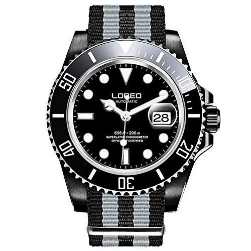 ロレオ 腕時計 メンズ LO0921k LOREO Mens GMT Black Stainless Steel Sapphire Black Rotating Bezel Mens Nylon Automatic Watchロレオ 腕時計 メンズ LO0921k
