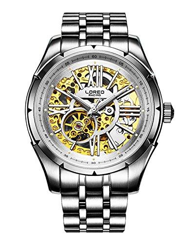 ロレオ 腕時計 メンズ LO8104e LOREO Mens Skeleton Watch 25 Jewels Automatic Mechanical Movement Gold Stainless Steel Watchesロレオ 腕時計 メンズ LO8104e