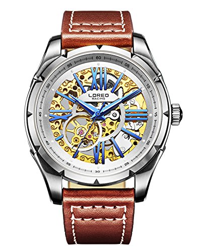ロレオ 腕時計 メンズ LO8104c 【送料無料】LOREO Mens Skeleton Watch 25 Jewels Automatic Mechanical Movement Stainless Steel Brown Leather Watchesロレオ 腕時計 メンズ LO8104c