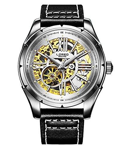 ロレオ 腕時計 メンズ LO8104a 【送料無料】LOREO Mens Skeleton Watch 25 Jewels Automatic Mechanical Movement Silver Stainless Steel Leather Watchesロレオ 腕時計 メンズ LO8104a