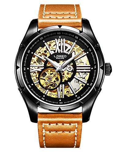 ロレオ 腕時計 メンズ LO8104 【送料無料】LOREO Mens Skeleton Watch 25 Jewels Automatic Mechanical Movement Stainless Steel Case Leather Watchesロレオ 腕時計 メンズ LO8104