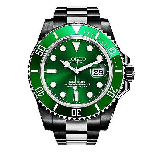 ロレオ 腕時計 メンズ LO0921m 【送料無料】LOREO Mens Full Black Stainless Steel Sapphire Glass Rotating Bezel Military Waterpoof Mens Automatic Watch (Green with Stainless Steel Band A)ロレオ 腕時計 メンズ LO0921m